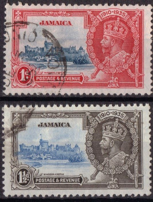 1935 JAM - SG114-15 - KGV Silver Jubilee 1d and 1½d VFU