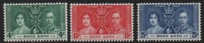 1937 HK - SG137-39 - KGVI Coronation Set (3) MNH
