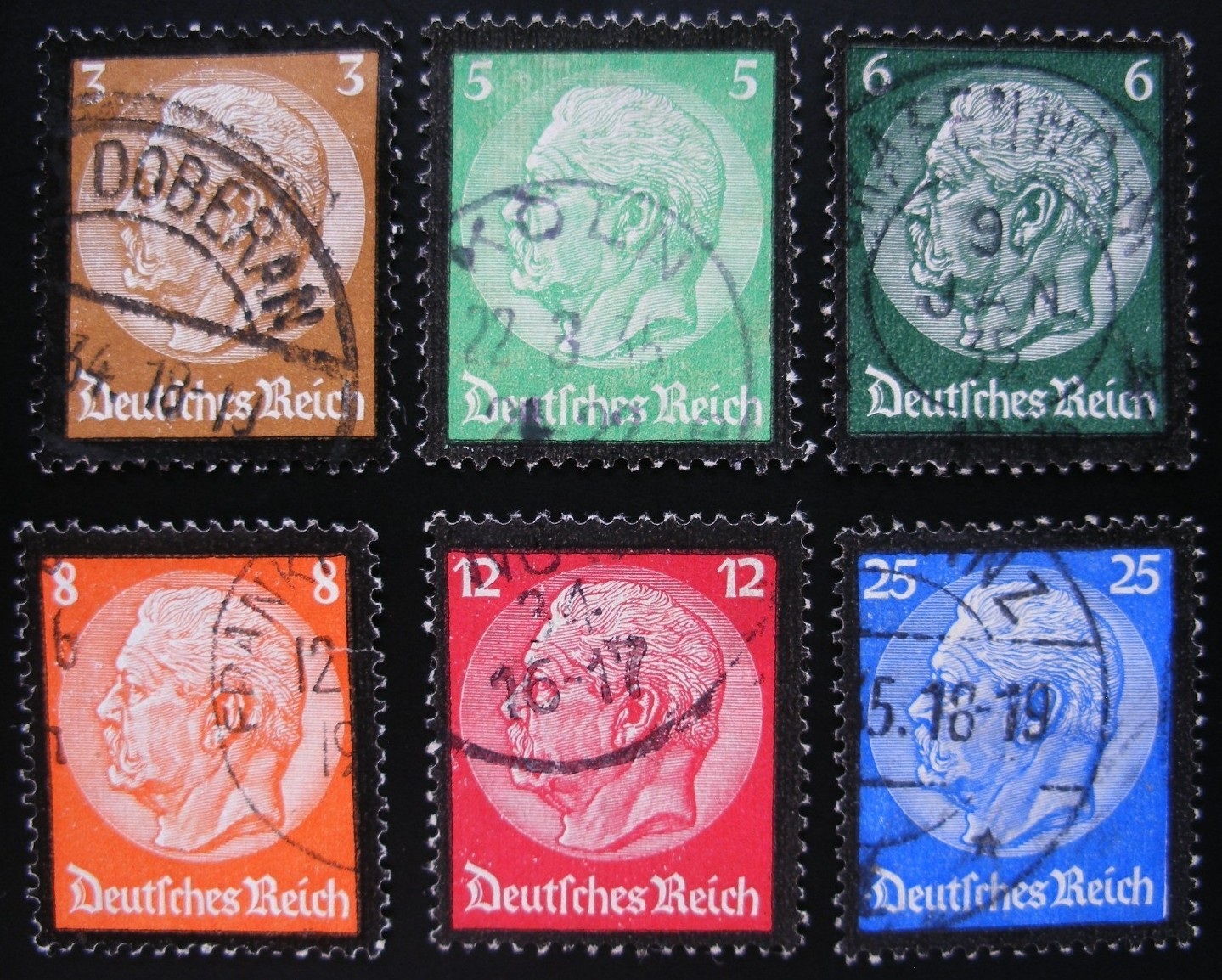 1934 - GER - SG545-50 Hindenburg Memorial Portrait Set (6) VFU