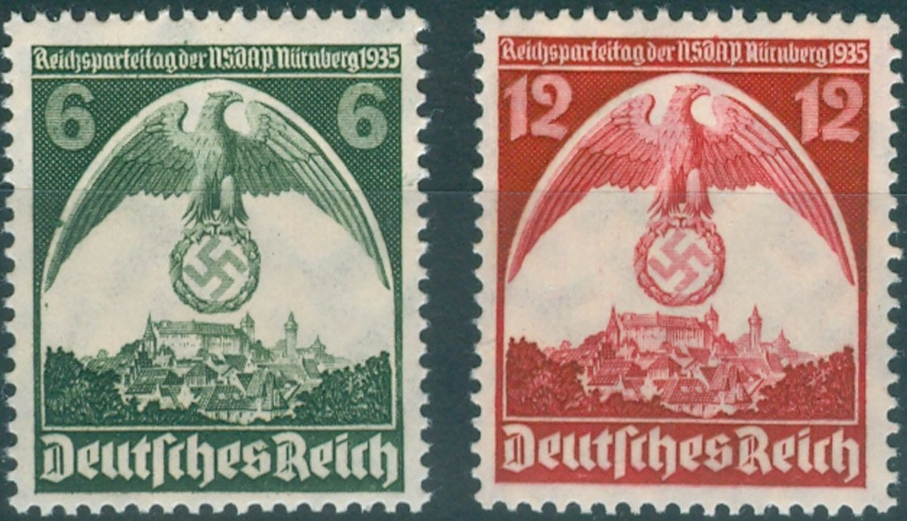 1935 - GER - SG583-84 Nuremberg Congress (1st Issue) (2) VFU
