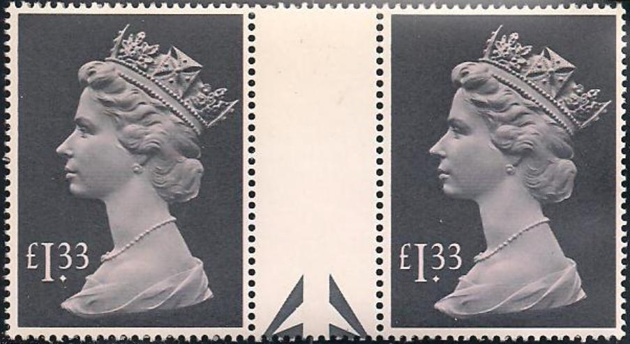 1984 GB - SG1026c (UF3) £1.33 (H) (Bottom Arrow) Gutter Pair MNH