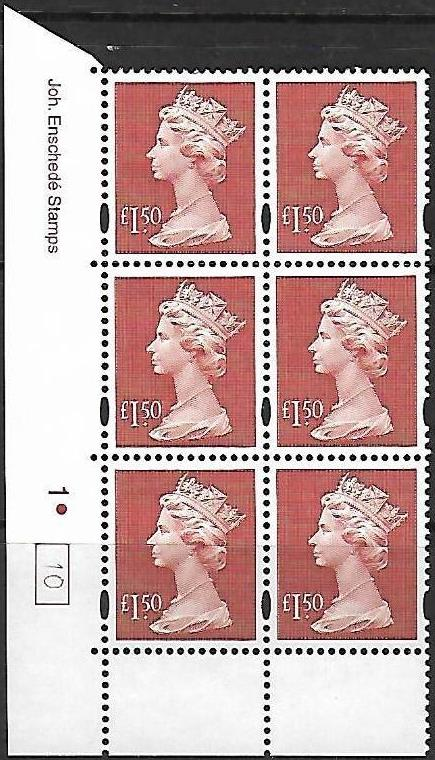 1999 GB - SGY1800 (UC14) £1.50 (E) Cyl 1 Dot Box 10 AU MNH