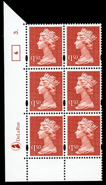 2000 GB - SGY1800 (UC18) £1.50 (D) Cyl 3 Dot Box 6 AU MNH