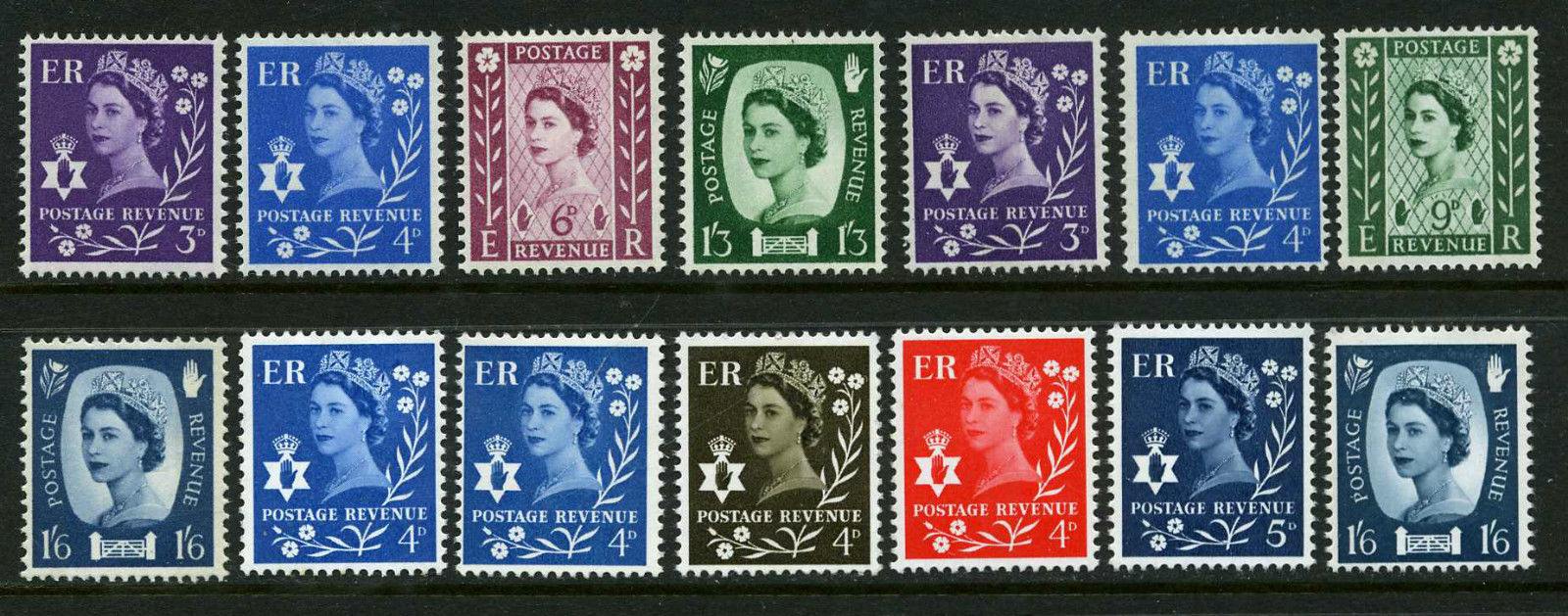 1958-70 GB - SGNI1-11 N. Ireland Regional Set (14) MNH