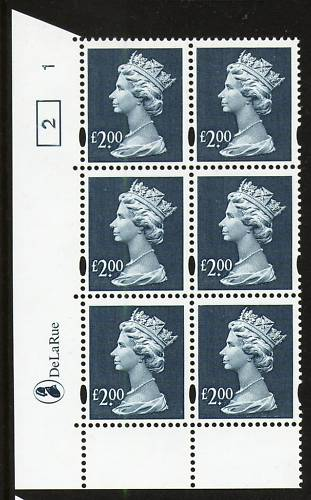 2000 GB - SGY1801 (UC19) £2 Dull Blue (D) Cyl 1 ND Box 1 AU MNH