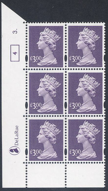 2000 GB - SGY1802 (UC20) £3 (D) Violet Cyl 3 No Dot Box 4 AU MNH