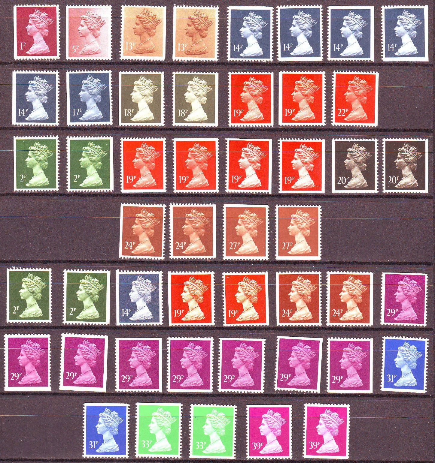 1987-90 GB - Straight Edge Valued Booklet Machins (48) MNH
