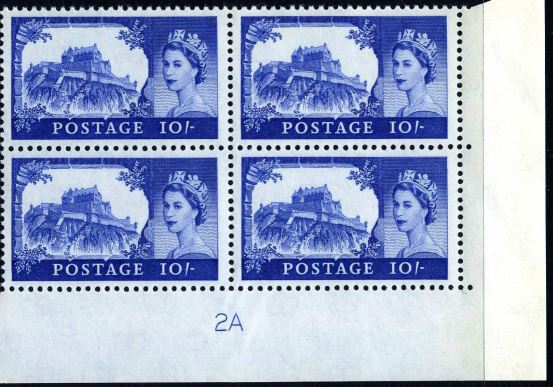 1963 GB - SG597a (T18) 10/- Castle Crowns Wk Bradbury CYL 2A (4)
