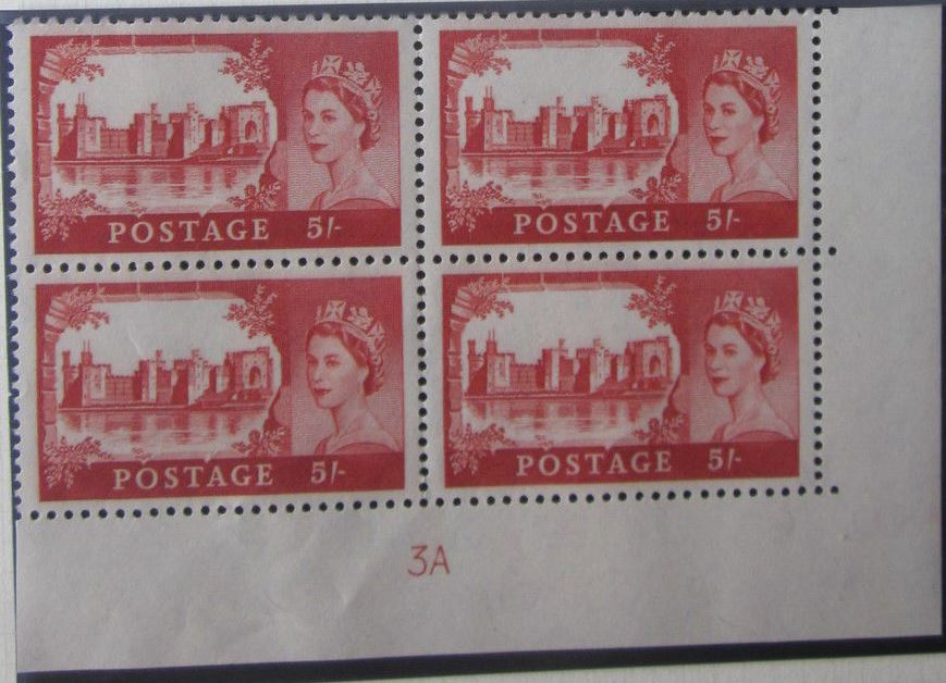 1963 GB - SG596a (T12) 5/- Castle Crowns Wk Bradbury CYL 3A (4)