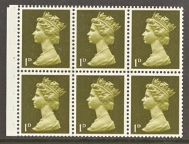 1968 GB - SG724ev (UB1-I) 1d Yellowish-Olive 2B Pane of 6 MNH