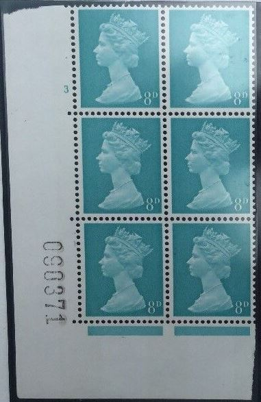 1968 GB - SG739 (U21c) 8d Lt Turquoise Blue 2B Cyl 3 No Dot (6)
