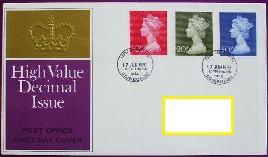 1970 GB - FDC - 3 x Hi-Value Definitives 10p to 50p (Addressed)