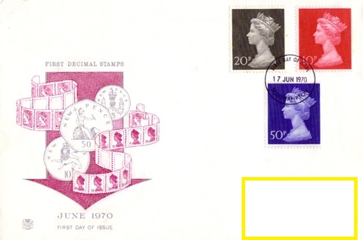 1970 GB - FDC - 3 x First Decimals 10p to 50p (Stuart Labelled)