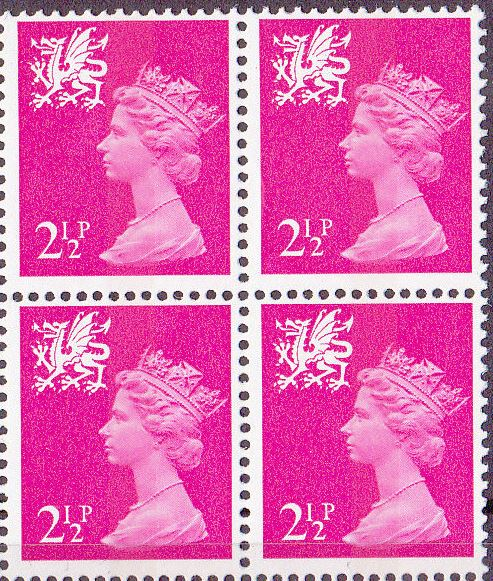 1971 GB - SGW13 2½p Bright Magenta (H) CB Block of 4 MNH (SW)