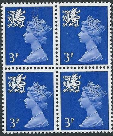 1974 GB - SGW15 3p Ultramarine (H) CB Block of 4 MNH