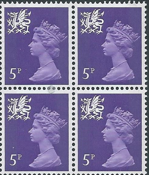 1971 GB - SGW19 5p Reddish Violet (H) 2B Block of 4 MNH