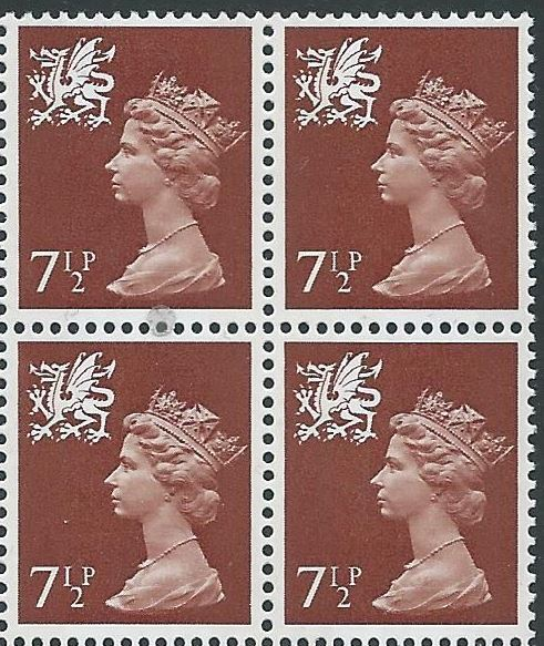 1971 GB - SGW24 7½p Chestnut (H) 2B Block of 4 MNH (SW)
