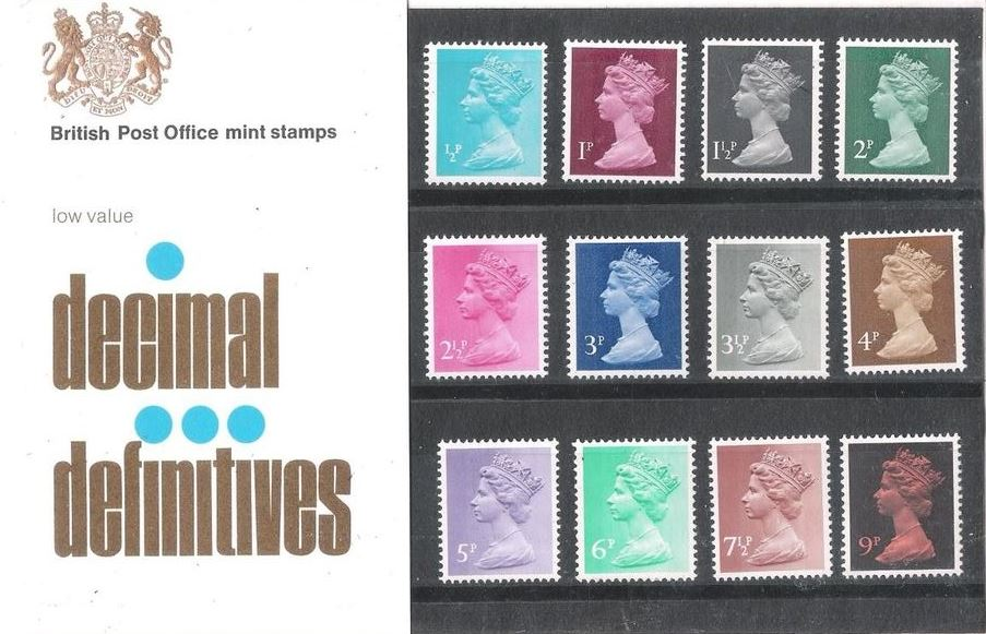 1971 GB - PP D026 - Machin Low Values (½p to 9p) - Small Format