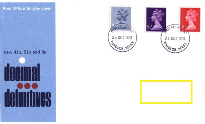 1973 GB - FDC - 4½p, 5½p & 8p Changed Definitives (Addressed)