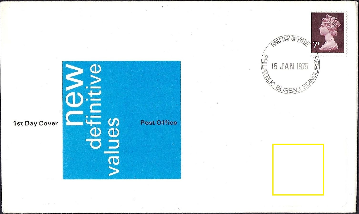 1975 GB - FDC - 7p Changed Definitive (Addressed)