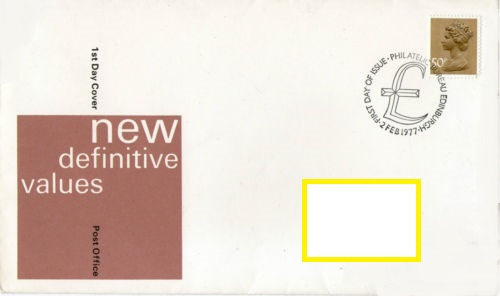 1977 GB - FDC - 50p Changed Definitive (Addressed)