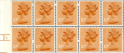 1979 GB - SGX887 (U187f) 10p Orange-Brown (H) PPP frm FH1A MNH