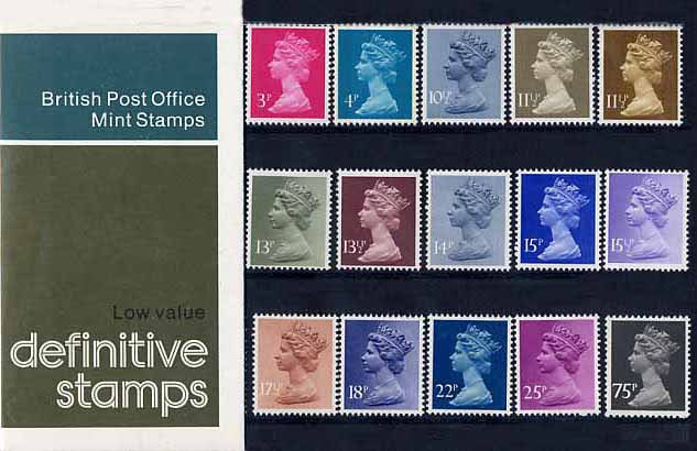1981 GB - PP D129a - Machin Low Values (½p to 75p) - Small Formt
