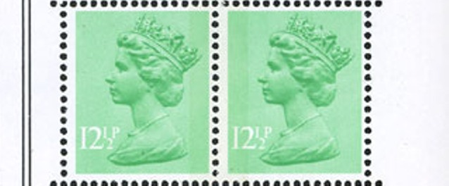 1982 GB - SGX899/Ea 12½p RB & LB Se-Tenant from DX3 (4mm) MNH