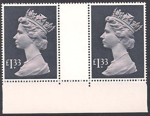 1984 GB - SG1026c (UF3) £1.33 (H) Bottom Margin Gutter Pair MNH