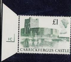 1988 GB - SG1410 £1.00 Carrickfergus 1st Series CYL Single 1C