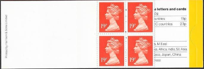 1988 GB - GD3 £0.76 - 4 x 19p Harrison Cover Plain