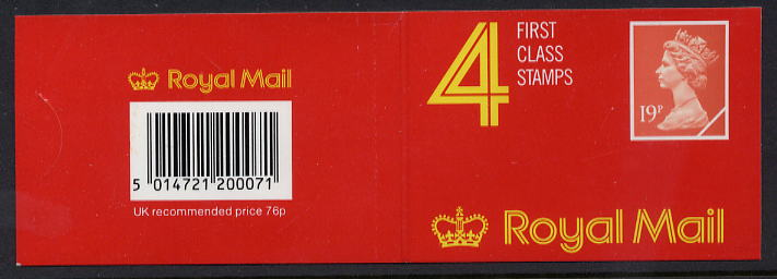 1989 GB - GD4 £0.76 - 4 x 19p Walsall Cover Plain