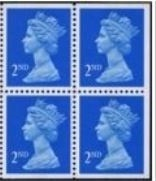 1989 GB - SG1449l Pane 4 x 2nd Brt Blue (W) CB from HA1 Bklt MNH