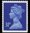 1990 GB - SGX1056 (UG80) 31p ACP (W) Blue from GH1 PPIP MNH
