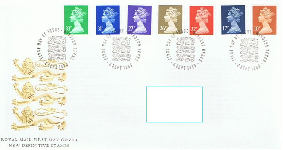 1990 GB - FDC - 7 x Changed Definitives 10p to 33p (Addressed)