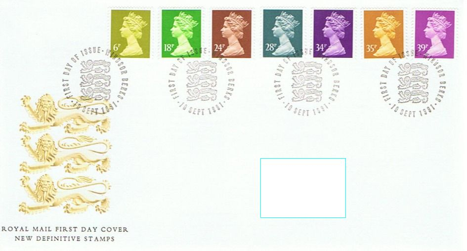 1991 GB - FDC - 7 x Changed Definitives 6p to 39p (Addressed)