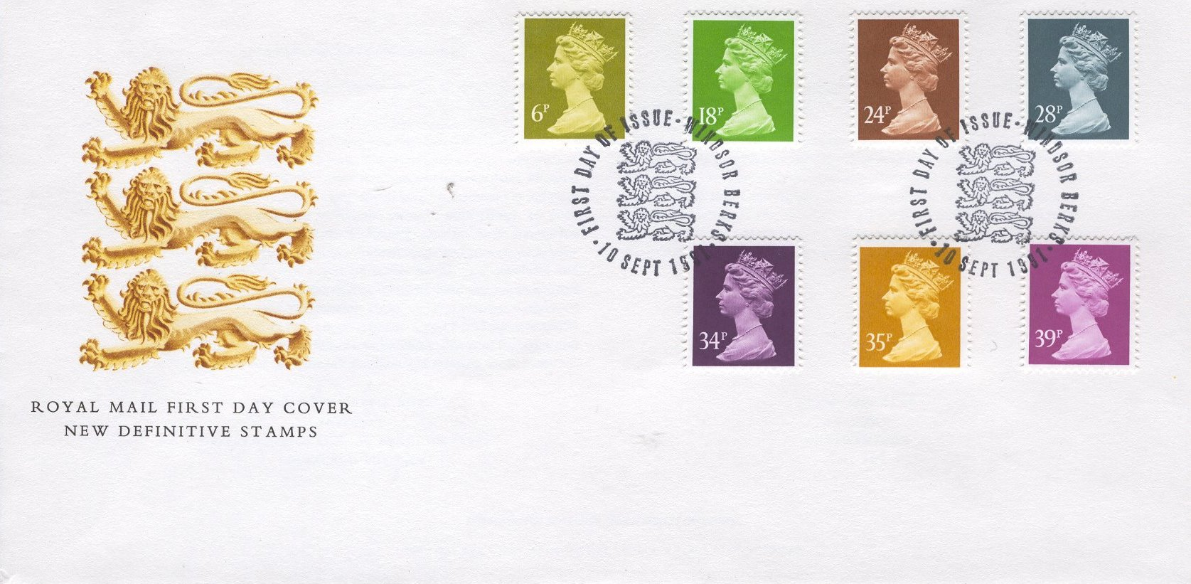 1991 GB - FDC - 7 x Changed Definitives 6p to 39p (Unaddressed)