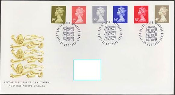 1993 GB - FDC-B - 6 x Changed Definitives 19p to 41p (Addressed)