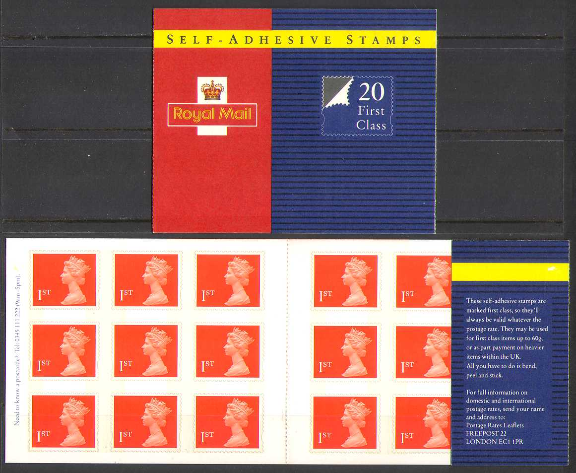 1993 GB - MG1 20 x SG1789 1st Flame in SAdh Booklet