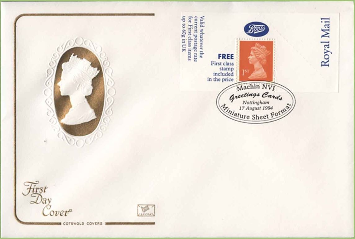 1994 GB - FDC - Boots Label - 1st Questa Cotswold (Unaddressed)