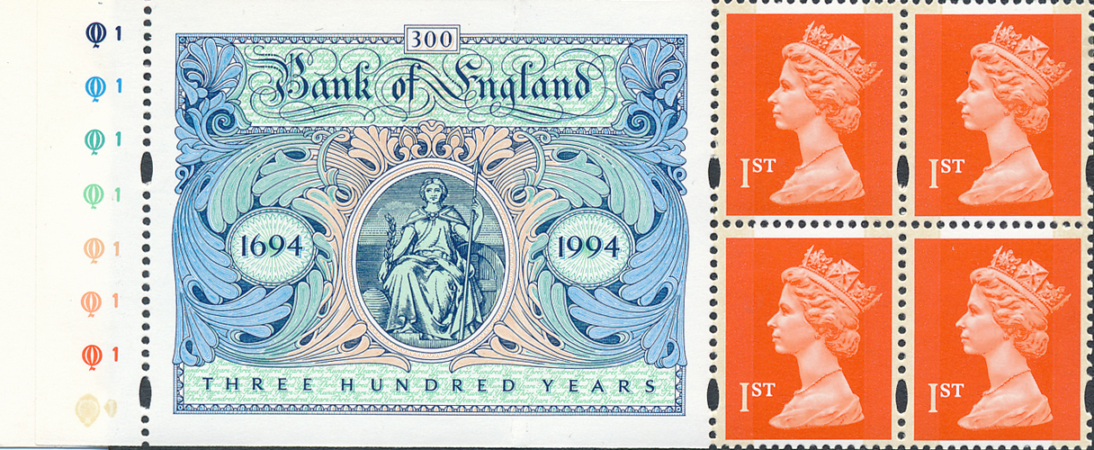 1994 GB - SG1671l 1st Flame (Q) Bank Eng Unfolded Pane Cyl MNH