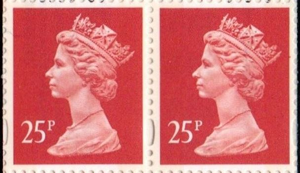 1996 GB - SGY1690 (UG67es) 25p Red 2B (Q) BF Pair from FW8 MNH