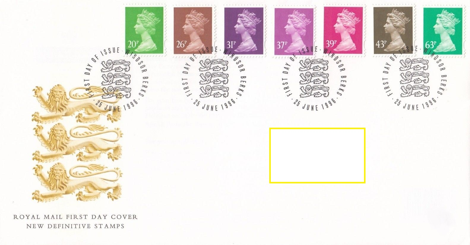 1996 GB - FDC - 7 x Changed Definitives 20p to 63p (Addressed)