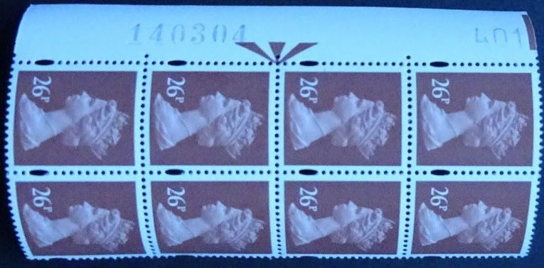 1996 GB - SGY1691 (U301) 26p Red-Brown (H) 2B WB 401 (8) LM MNH