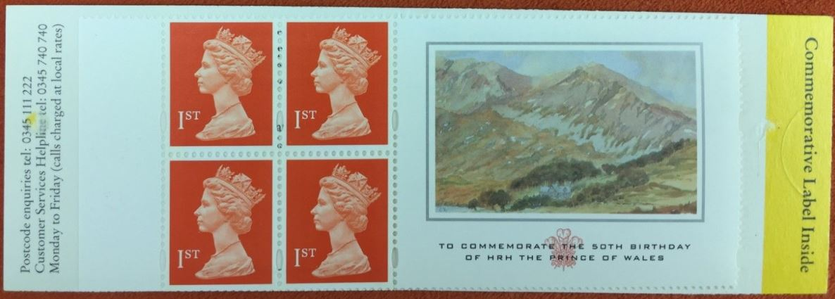 1998 GB - HB16 - 4 x 1st Flame (W) Prince of Wales Bklt Plain