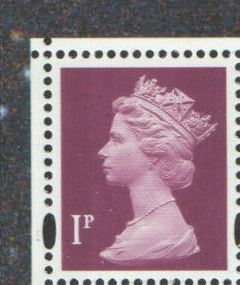 1999 GB - SGY1667 (U69Ds) 1p 2B (Q) SBT from Pane 5 of DX23 MNH
