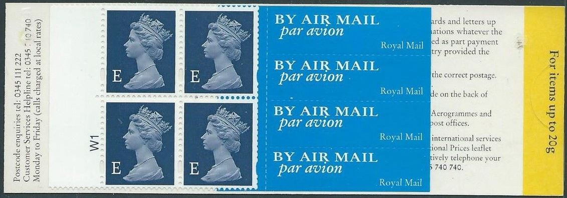 1999 GB - HF1 - 4 x E (W) Euro Airmail Bklt 9mm Margin Cyl W1
