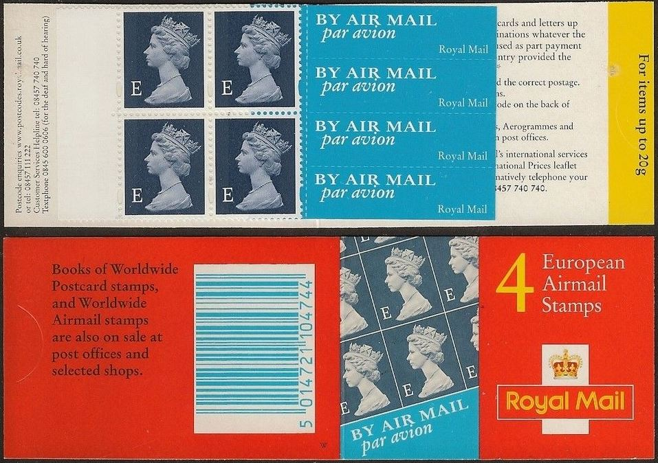 2000 GB - HF1a - 4 x E (W) Euro Airmail Bklt 6.5mm Margin Plain