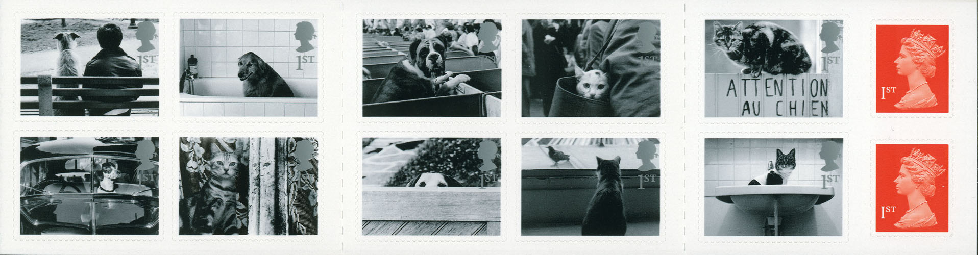 2001 GB - PM1 10 x 1st Cats and Dogs Booklet + 2 x 1st Flame