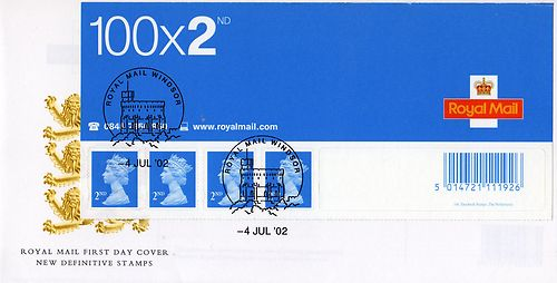 2002 GB - FDC - BS7 2nd Class Business Sheet (Unaddressed)
